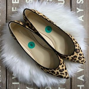 Marc Fisher leopard calf fur pointed flats size 8